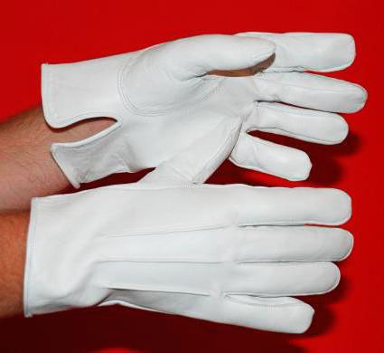 White Leather Gloves Flagpole Parade Marching