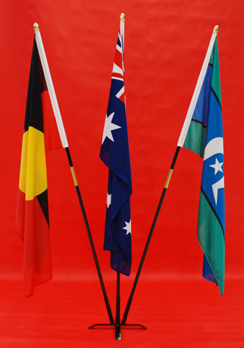 Triple 3 Indoor Flagpoles Australian, Aboriginal & Torres Strait Island Flags Knitted Polyester 1800mm x 900mm By Adwareflags.com