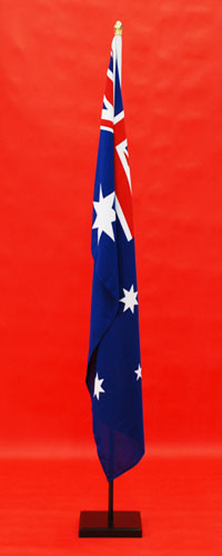 Wooden Indoor Flagpole and Stand Highest Quality Woven Australian Flag 1800mm x 900mm Satin Black Finish By Adwareflags.com