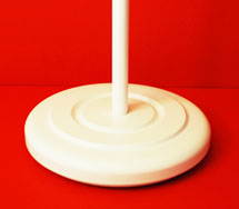 White Indoor Flagpole Floor Stand Round Wood Turned