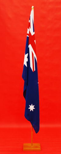 Oak Timber Indoor Flagpole High Quality Australian Flag Knitted Polyester 1800mm x 900mm By Adwareflags.com