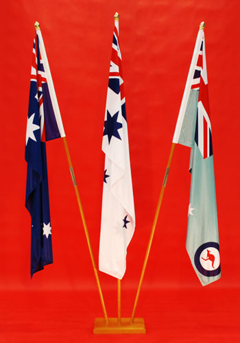 Triple 3 Flagpole Indoor Stand Australian National Flag, RAN White Ensign, RAAF Ensign 1800mm x 900mm Knitted Polyester Highest Quality in Australia By Adwareflags.com