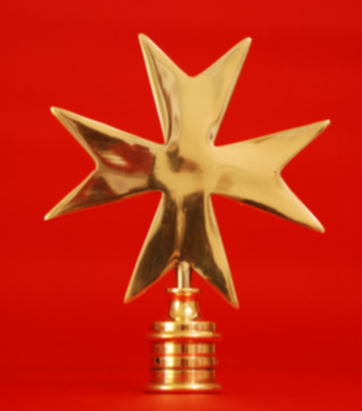Flagpole Finial - Maltese Cross Solid Polished Brass