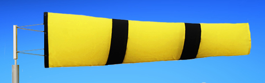 Windsocks Yellow & Black Stripes 6 foot. H/D Polyurethane Mouth